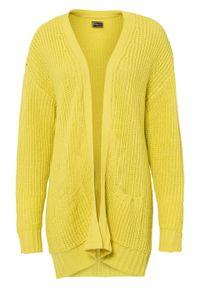 Sweter bez zapięcia z kieszeniami bonprix limonka. Kolor: zielony