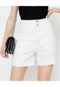 Pinko - PINKO - Białe szorty lniane Loquace. Kolor: biały. Materiał: len. Wzór: prążki. Styl: elegancki