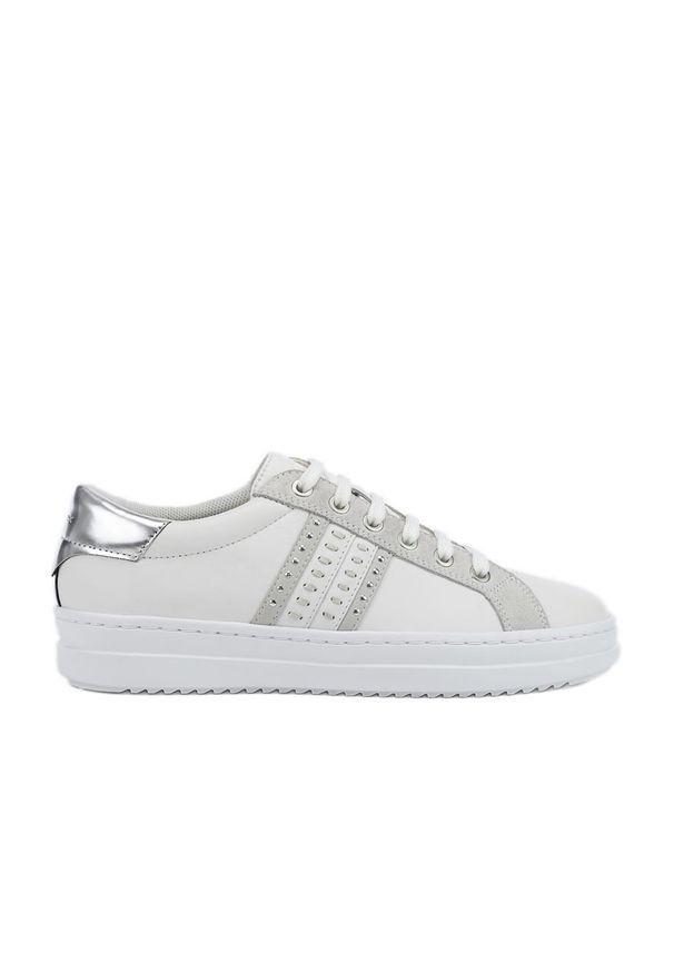 Białe buty sportowe Geox z okrągłym noskiem, z cholewką, na sznurówki
