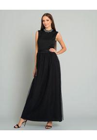 PESERICO - Czarna tiulowa sukienka maxi. Kolor: czarny. Materiał: tiul. Wzór: aplikacja. Typ sukienki: rozkloszowane, z odkrytymi ramionami. Długość: maxi