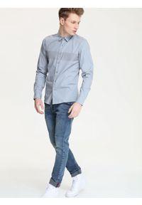 Szara koszula DRYWASH młodzieżowa, z długim rękawem, długa, z nadrukiem