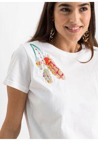 Shirt z nadrukiem bonprix biały z nadrukiem. Kolor: biały. Wzór: nadruk