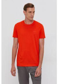 BOSS - Boss - T-shirt bawełniany. Okazja: na co dzień. Kolor: pomarańczowy. Materiał: bawełna. Wzór: gładki. Styl: casual