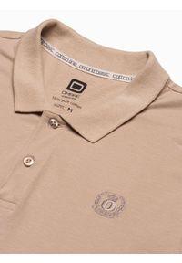 Ombre Clothing - Koszulka męska polo klasyczna bawełniana S1374 - beżowa - XXL. Typ kołnierza: polo. Kolor: beżowy. Materiał: bawełna. Wzór: haft. Styl: klasyczny