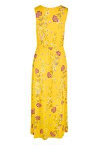 Długa sukienka w kwiaty bonprix żółty kukurydziany w kwiaty. Kolor: żółty. Wzór: kwiaty. Długość: maxi