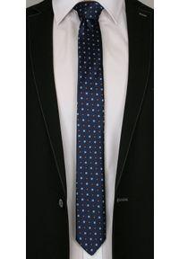 Elegancki Granatowy Krawat -Angelo di Monti- 6 cm, Męski, Pomarańczowo-Niebieski Wzór. Kolor: niebieski. Styl: elegancki