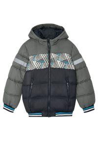 Czarna kurtka bonprix w paski, z kapturem, na zimę