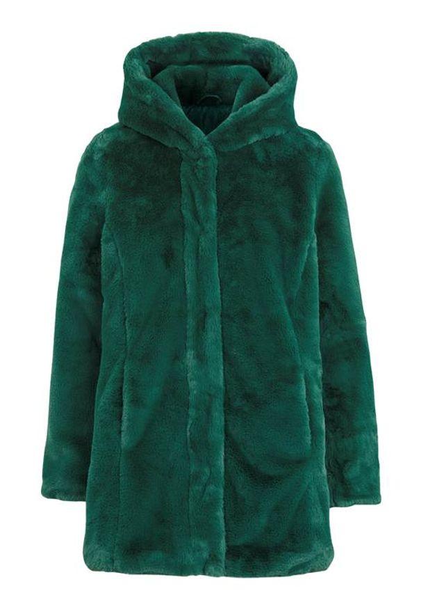 Cellbes Płaszcz ze sztucznego futra z kapturem ciemnozielony female zielony 54/56. Typ kołnierza: kaptur. Kolor: zielony. Materiał: futro. Styl: elegancki