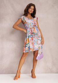 Renee - Liliowa Sukienka Armoren. Typ kołnierza: kołnierz z falbankami. Kolor: fioletowy. Wzór: kwiaty, aplikacja. Typ sukienki: trapezowe. Długość: mini