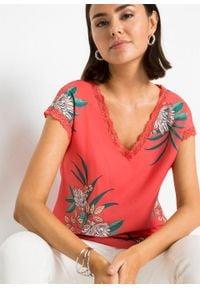 Shirt z nadrukiem i koronką bonprix pomarańczowy z roślinnym motywem. Kolor: pomarańczowy. Materiał: koronka. Wzór: nadruk, koronka
