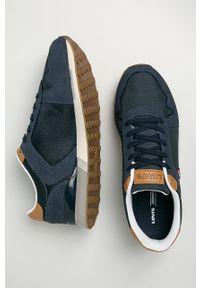 Niebieskie sneakersy Levi's® na spotkanie biznesowe, na sznurówki