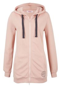 Długa bluza rozpinana bonprix stary jasnoróżowy. Kolor: różowy. Długość: długie. Wzór: nadruk. Styl: retro