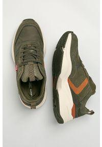 Zielone sneakersy Levi's® z cholewką, na spotkanie biznesowe, na sznurówki