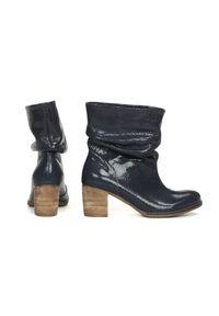 Niebieskie botki Zapato z cholewką za kolano, wąskie