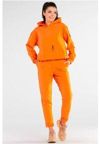 Infinite You - Bawełniane Spodnie z Podwiniętą Nogawką - Pomarańczowe. Kolor: pomarańczowy. Materiał: bawełna