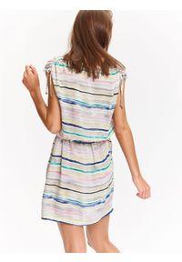 Biała sukienka TOP SECRET maxi, w kolorowe wzory