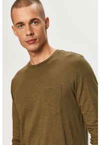 Oliwkowa koszulka z długim rękawem PRODUKT by Jack & Jones casualowa, na co dzień, z okrągłym kołnierzem