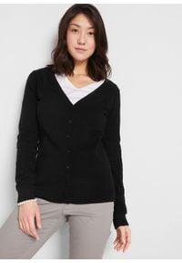 Sweter rozpinany z gładkiej dzianiny z plisą guzikową bonprix czarny. Kolor: czarny. Materiał: dzianina. Wzór: gładki