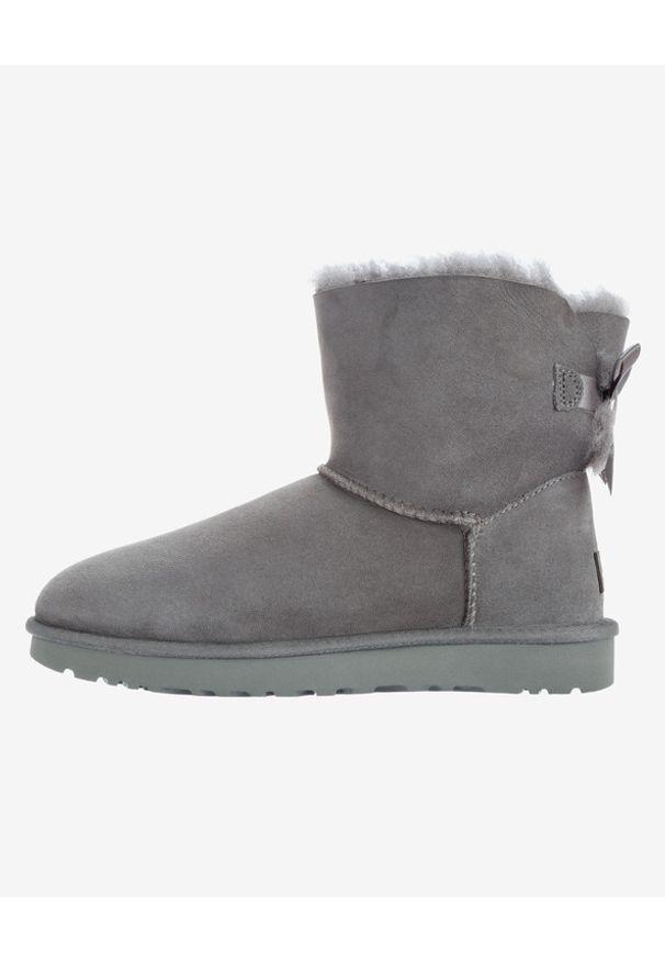 Szare buty zimowe Ugg w kolorowe wzory, z okrągłym noskiem