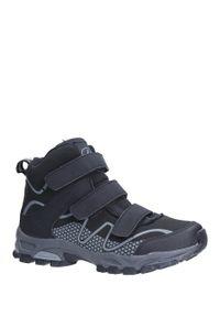 Casu - czarne buty trekkingowe na rzepy softshell casu b1516b-1. Zapięcie: rzepy. Kolor: czarny. Materiał: softshell