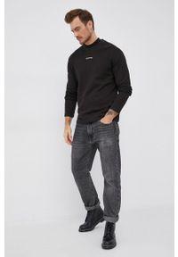 Calvin Klein Jeans - Longsleeve bawełniany. Okazja: na co dzień. Kolor: czarny. Materiał: bawełna. Długość rękawa: długi rękaw. Styl: casual