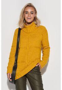 Żółty sweter Makadamia z golfem