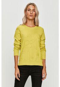 Żółty sweter Desigual na co dzień, długi, casualowy, z długim rękawem
