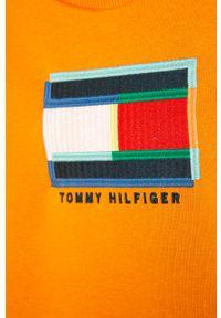 Pomarańczowa bluza TOMMY HILFIGER na co dzień, z aplikacjami, casualowa, z okrągłym kołnierzem