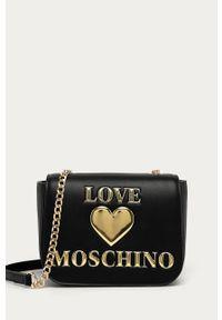 Czarna listonoszka Love Moschino z aplikacjami, z aplikacjami