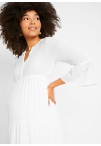 Sukienka ciążowa kaftanowa z wiskozy kreszowanej bonprix biel wełny. Kolekcja: moda ciążowa. Kolor: biały. Materiał: wiskoza, wełna. Sezon: lato