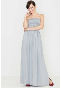 Szara sukienka Katrus maxi, gorsetowa, z gorsetem