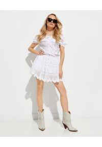 GADO GADO - Haftowana sukienka z bawełny. Kolor: biały. Materiał: bawełna. Wzór: haft. Długość: mini