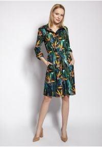 e-margeritka - Sukienka koszulowa na guziki wiązana w talii - 36. Okazja: na co dzień. Materiał: wiskoza, tkanina, materiał. Długość rękawa: długi rękaw. Typ sukienki: koszulowe. Styl: casual. Długość: midi