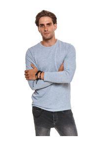 TOP SECRET - T-shirt z miękkiej dzianiny swetrowej. Kolor: szary. Materiał: dzianina