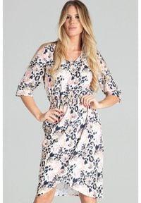 Figl - Asymetryczna sukienka midi z gumą w pasie pastelowa panterka. Okazja: do pracy, na co dzień. Materiał: guma. Wzór: motyw zwierzęcy. Typ sukienki: asymetryczne. Styl: casual. Długość: midi