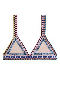 KIINI - Top od bikini Mila. Kolor: beżowy. Materiał: materiał. Wzór: kolorowy