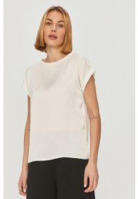 Vila - T-shirt. Okazja: na co dzień. Kolor: biały. Materiał: dzianina. Wzór: gładki. Styl: casual