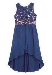 Sukienka dziewczęca na uroczyste okazje z tiulową wstawką bonprix kobaltowy. Kolor: niebieski. Materiał: tiul #1