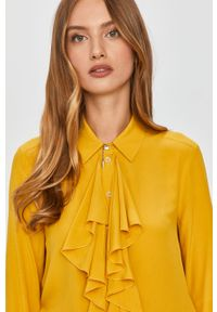 Żółta koszula Patrizia Pepe na co dzień, długa, z klasycznym kołnierzykiem, casualowa