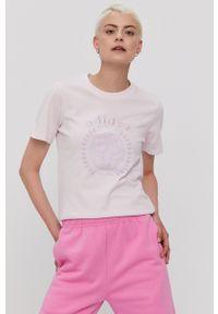 adidas Originals - T-shirt. Okazja: na co dzień. Kolor: fioletowy. Materiał: dzianina. Wzór: nadruk. Styl: casual