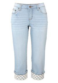 Niebieskie jeansy bonprix w kolorowe wzory, z podwyższonym stanem