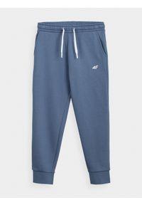 4f - Spodnie dresowe dziewczęce (122-164). Okazja: na co dzień. Kolor: niebieski. Materiał: dresówka. Styl: casual