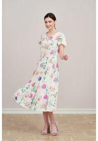 Sukienka Marie Zélie z aplikacjami, maxi, z krótkim rękawem