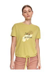 TOP SECRET - Bluza z krótkim rękawem, na dole wiązana. Okazja: do pracy. Kolor: zielony. Materiał: tkanina. Długość rękawa: krótki rękaw. Długość: krótkie. Wzór: nadruk. Sezon: lato