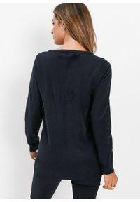 Czarny sweter bonprix z klasycznym kołnierzykiem, klasyczny