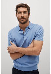Niebieska koszulka polo Mango Man gładkie, krótka