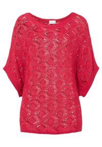 Shirt dzianinowy oversize bonprix różowy magenta. Kolor: różowy. Materiał: dzianina