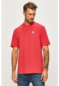 Różowy t-shirt adidas Originals z nadrukiem, z okrągłym kołnierzem, casualowy, na co dzień