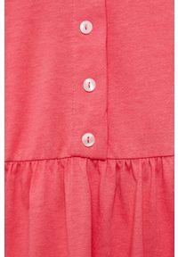 Vero Moda - Sukienka. Kolor: różowy. Materiał: dzianina, bawełna. Długość rękawa: na ramiączkach. Wzór: gładki. Typ sukienki: rozkloszowane