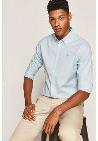 Niebieska koszula Tommy Jeans button down, casualowa, na co dzień, długa